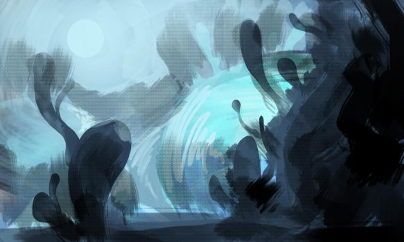 Mushroom Landscape (WIP) by chuckles-the-cat