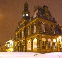 Buxton town hall in the snow by powerssk8