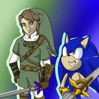 sonic the hedgehog and twilight princess link by 5catsonebowl