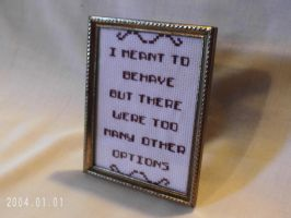 Funny Framed Cross Stitch Behave Yourself by agorby00