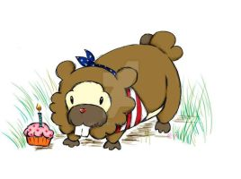 Happy Bidoof, America by Nekojiri