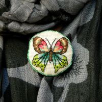 Cross stitch Butterfly beautiful fabric brooch by YANKA-arts-n-crafts