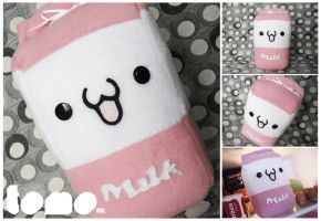 TOMO STRAWBERRY MILK - Kawaii Milk Plushie by TomodachiIsland