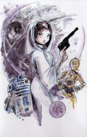 Watercolor: Princess Leia by mikemaihack
