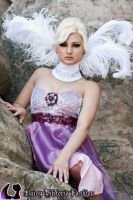 Purple Dress with Feather Collar by DaisyViktoria
