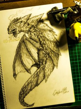 Dragon Full Body Design Sketch:Element Texturing by CryCheeAAA