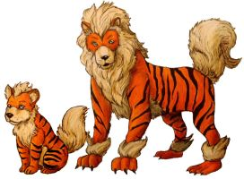 Growlithe and Arcanine by Mbecks14