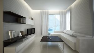 white brick living room by dandygray