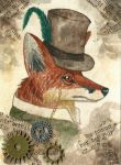 Steampunk Fox (ACEO) by Woodswallow