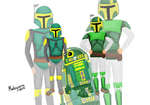 Green and yellow Mandalorians by mahiyanacarudla