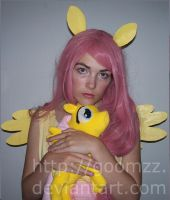 Fluttershy with Plush by goomzz