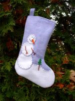 Snowman + Tree Arctic Stocking by UrsulaPatch