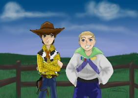 Woody and Buzz as kids. by natea21