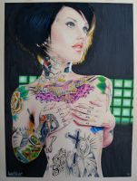tattooed chick by GrizzlyGreenEyes