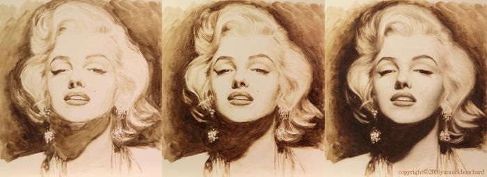 Marilyn  portrait WIP by YannickBouchard