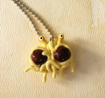 Flying Spaghetti Monster Necklace by lemon-stockings