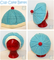 Slouchy Blue Icing Cup Cake Beret by moofestgirl