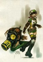 roller derby and gas masks by punchyninja