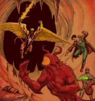 Hellboy with the powers of the angel Azrael by Nick-Perks
