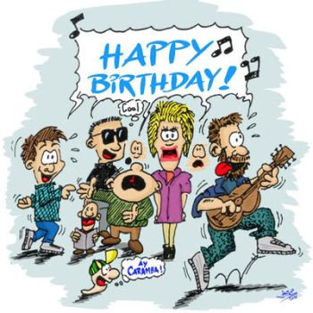 Happy Birthday singing people by syshack