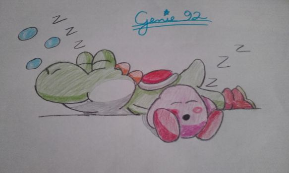 Kirby and Yoshi sleeping by Genie92