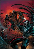 Deadpool vs Venom by smekitup