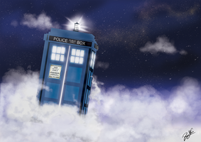 Tardis in the Clouds by DawnAllies