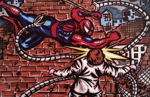 Spider-man vs Dr octavious by DustyPaintbrush