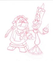 Cogsworth and Lumiere - sketch by Rob-lightning