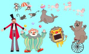 Circus Characters by SpaceCadetAmy
