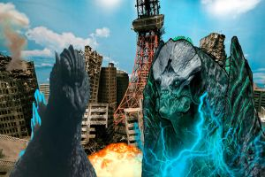 Godzilla 2004 vs Leatherback by ltdtaylor1970