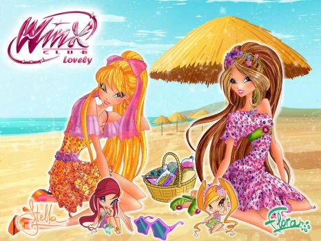Winx Club: Stella and Flora Caribbean wallpaper by WinxLovely