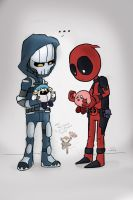 Tasky and Deadpool- Plushies by kamy2425
