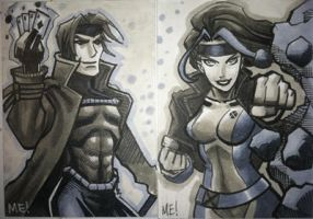 Rogue and Gambit ACEO commish by MasonEasley