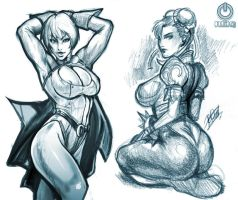 Chun-Li and Power Girl by reiq