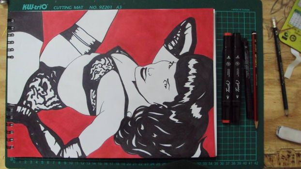 Bettie page red black pencil by enyway