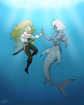 Jet and Citrine Mermaid AU (MerMay 2017) by TheGraffitiSoul
