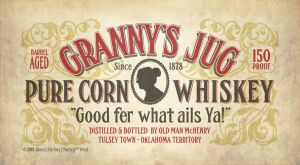 Grannys Jug Whiskey Label Vintage Font by Phrostbyte64