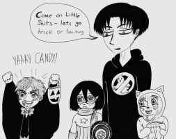 Papa!Levi Going Trick or Treating With His Kiddies by Batsu13angel