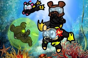 UnderWater Battle Bears by Ai-Amaterasu