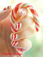 Christmas Candy Cane Nails by EmpressTang