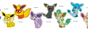 All the Eeveelutions as of 2013 by KelseyEdward