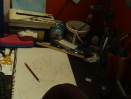 Where The 'Magic' Happens: My Messy Desk by Bloodfire09
