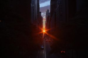 Manhattanhenge Half-Sun HDR by Worldnewser