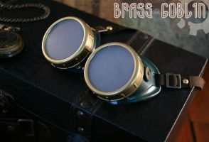 Steampunk Goggles in Green and Gold by brassgoblin