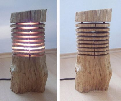 My work - wooden lamp by byMichaelX