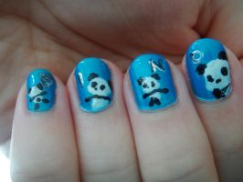 Dino and Panda nails 2 by MelodicInterval