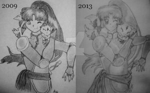 Draw This Again - Sango and Kirara by SuicidalxEmbrace