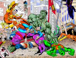 Hulk vs JLA by Pencil-Pusher1