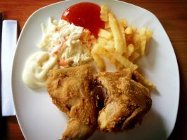 Fried Half Chicken with Fries by nosugarjustanger